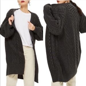 Topshop Grey Cable Knit Oversized Cocoon Cardigan